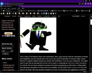 Screenshot of a website in Internet Explorer with the High Contrast Black Theme turned on in Windows
